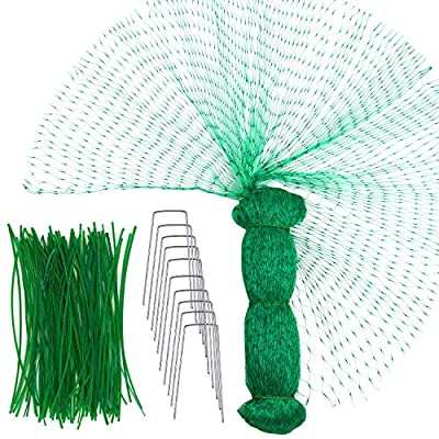 4m6m Garden Netting Green Anti Bird Protection Net Garden Plant Mesh Netting with 100 Pieces Garden Wire Twist Ties and 10 Pieces U-Shaped Metal Garden pegs (6 M x 4 M, Green 1)