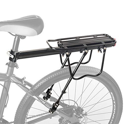 LYCAON Portaequipajes Bicicleta Trasero, Bicicleta Trasera Rack, con Reflector 50-65 kg de Capacidad, para Bicicleta de Montaña Bicicleta de Carretera