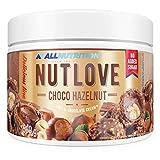 ALLNUTRITION Nutlove Choco Hazelnut 500 g es una deliciosa crema de chocolate con nueces crujientes de ingredientes 100% naturales, sin endulces, sin grasa de palma.