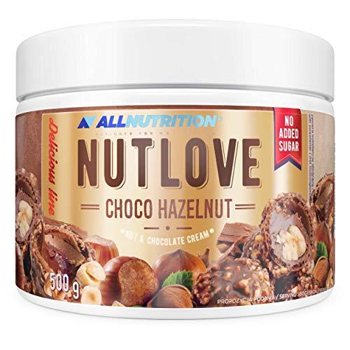ALLNUTRITION NUTLOVE CHOCO HAZELNUT 500g ist eine köstliche Schokoladencreme mit knusprigen Nüssen aus 100% natürlichen Zutaten, Ungesüßt, Kein Palmenfett!