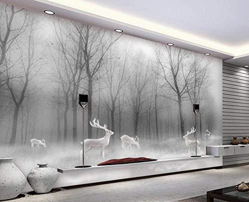 3D vliesbehang foto vlies premium fotobehang behang Scandinavisch bos eland abstract bos zwart-wit-landschap tv-achtergrond wooncultuur wandschilderijen 3D wallpaper 200*140 200 x 140 cm.
