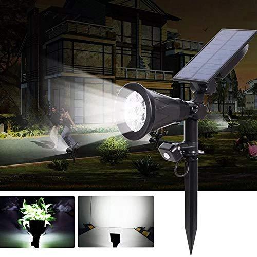 Decorativa Iluminación de paisaje Accionada solar del sensor de movimiento PIR 7 LED de luz del césped a prueba de agua al aire libre Patio lámpara de pared del paisaje, luces (Color : White)