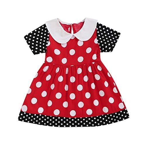 FORESTIME Infant Baby Girls Polka Dot Printed Ruffled Sleeves Frock Dress Toddler Summer Sundress Princess Dress Red