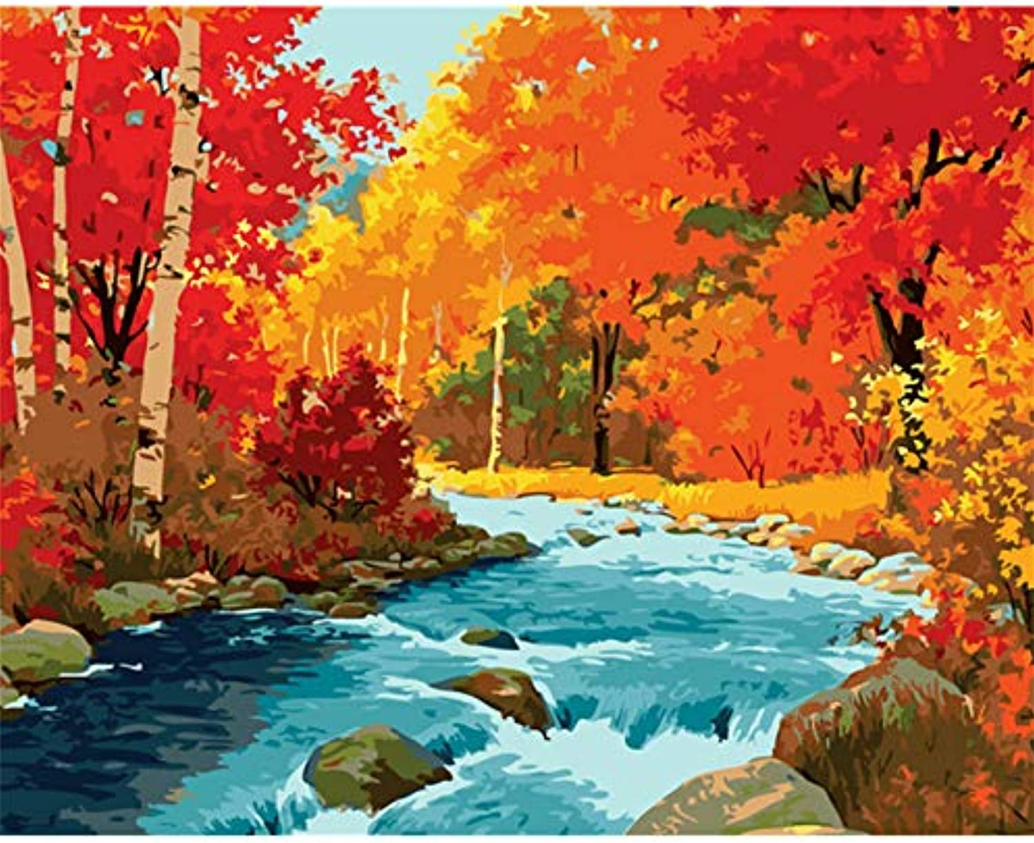 DIY wall pictures for living room Digital Oil Painting Hand Painted On Canvas Painting Red Forest Canyon oil painting, Framed, 50x60cm