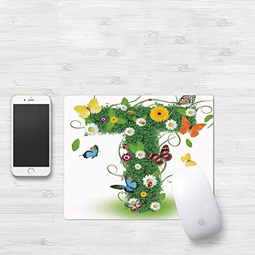 Tapis de souris de jeu, lettre T, design inspiré de la nature avec des fleurs et des animaux feuillage vert Summer Vibes décoratif, vert Multic, épais tapis de souris étanche Gaming Functional Antidér