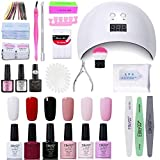 Elite99 Smalto Semipermanente per unghie Kit di Partenza in 6 coloris Gel 24 W LED Lampada UV Nail Dryer Soak Off Topcoat Basecoat Nail Art Tool Set di Adesivi per Manicure Set per Manicure 10ML C003