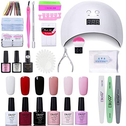 Elite99 Lámpara UV LED para Uñas 24w, 6 Colores Kit de Esmaltes Semipermanentes en Gel UV LED, Base y Top Coat, Semipermanentes, Removedor de Uñas y Accesorios 003