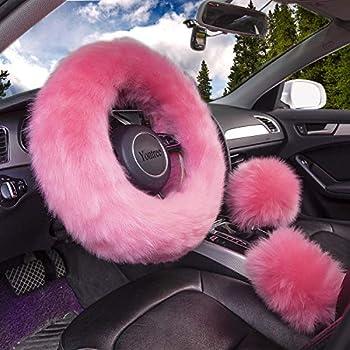 Yontree Cute Fluffy Steering Wheel Covers for Women/Girls/Ladies Australia Pure Wool 15 Inch1 Set 3 Pcs  Pink