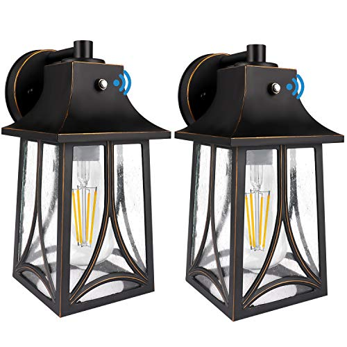 2 Pack CINOTON Outdoor Wall Lantern, Dusk to Dawn Photocell Sensor Wall Sconce Die-Casting Aluminum Seeded Glass Shade Waterproof Outdoor Front Porch Lights Wall Mount Includes E26 LED Bulb