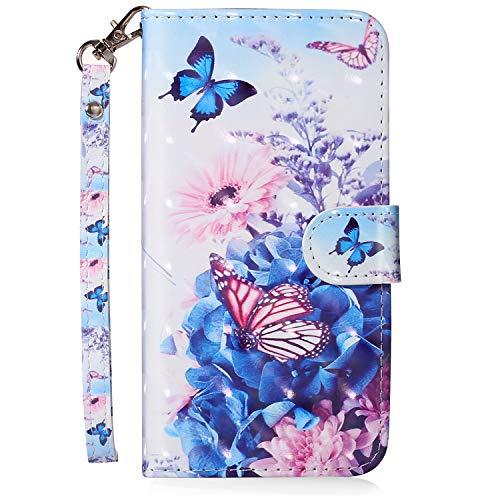 MoreChioce kompatibel mit iPhone 8 Plus Hülle, iPhone 7 Plus Klapphülle,Luxuriös 3D Glitzer Ledertasche Schmetterling Blume Bling Glanz Funkeln Flip Schutzhülle Handytasche Magnetverschluß