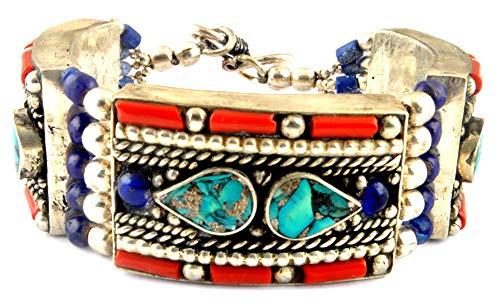 Indie artigiani lapis corallo turchese vintage cinturino bracciale in argento 925placcato gioielli moda donna pietra preziosa sport Surfer bracciale per donna