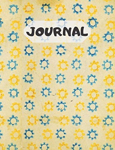 Journal: Vintage blue and yellow sunflower stencil lined notepaper (120 pages)