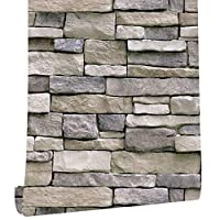 石の皮と棒の壁紙の取り外し可能なコンタクトの紙の自己接着紙3Dの偽紙テクスチャ石の壁見て素朴なレンガの論文 (Color : Brick Pattern, Dimensions : 1mx45cm)