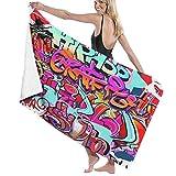 Grande Suave Ligero Microfibra Toalla de Baño Manta,Muro de Graffity,Hoja de Baño Toalla de Playa por la Familia Hotel Viaje Nadando Deportes Decoración del Hogar,52' x 32'