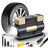 WOLFBOX Portable Digital Air Compressor Heavy Duty Double Cylinders with Auto Shut-Off, 150PSI 12V Air Compressor Tire Inflator with LED Light, Air Pump for Car, Truck, Auto, Bicycles, motorcycles etc