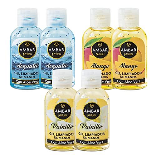 Ambar Perfums - Gel Limpiador de Manos 70% Alcohol, 55 ml, 6 ud. Aromas Acquatic, Vainilla y Mango.