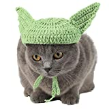 Coomour Halloween Dog Hats Handmade Green Ear Dog Costumes Crochet Cute Dog Cap Accessory for Dogs Cats Pets (Large)