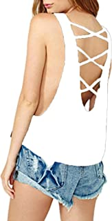 Haola Women's Crop Top Casual Vest Tops Backless Bandage Tank Loose Tees