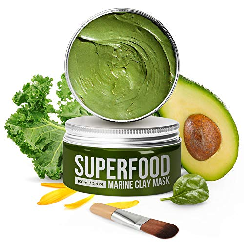 100% VEGAN Dead Sea Mud Mask with Avocado & Superfoods - 100ml/3.4 Oz Organic Face Mask for Acne - Dermatologically Tested Hydrating Clay Mask - Blackhead Remover - Deep Pore Cleanser and Minimizer