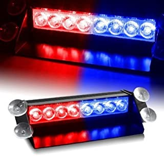 ZHOL 8 LED Visor Dashboard Emergency Strobe Lights Blue/Red