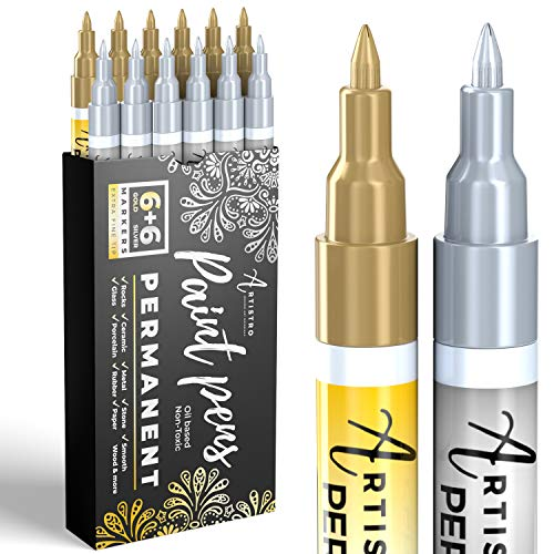 Gold & Silver Paint Pens for Rock Painting, Stone, Metal, Ceramic, Porcelain, Glass, Wood, Fabric, Canvas. Pack of 12 Permanent Oil Based Paint Markers Extra Fine Tip 0.7mm
