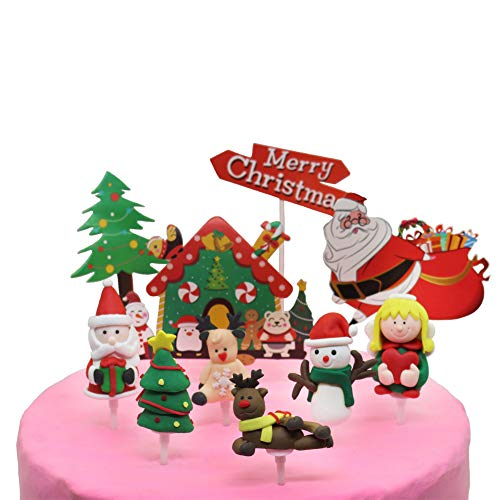 Hiawbon 10 Pieces Christmas Cake Toppers with Santa Claus Snowman Reindeer Green Angel Penguin Xmas Cupcake Decorations for Christmas Birthday Wedding Party Decoration Supplies
