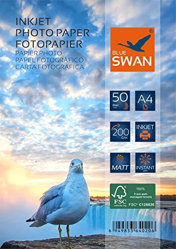 BLUE SWAN 100 Blatt A4 Matt Fotopapier, DIN A4 (210 x 297 mm),Einseitige Matte Beschichtung, 200g/qm, hohe Farbbrillianz, Geringe Reflexion.
