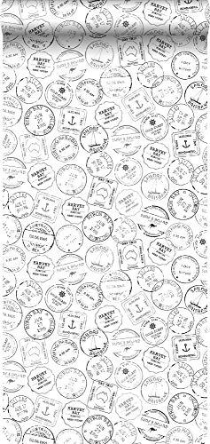 papier peint timbres de surf noir et blanc - 138981 - de ESTAhome