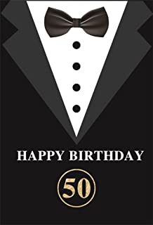 LFEEY 8x10ft Happy 50th Birthday Party Backdrop for Adults Father's Men's Suits with Bow-tie Photography Backgrounds Fift y Years Old Party Cake Smash Background Photo Booth Props