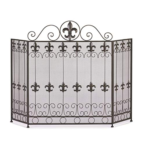 Fantastic Deal! Fireplace Screen American Black Heating Home Fire Guardrail Living Room Wrought Iron...