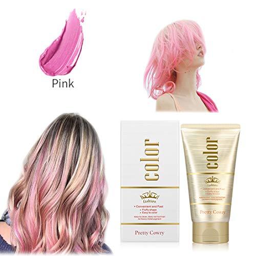 Cera per Capelli Colore,Cera Capelli Crema Colorante per Capelli Colore Temporaneo Modellante, DIY Festival e Cosplay Hair Dye cera Crema Styling (Rosa)