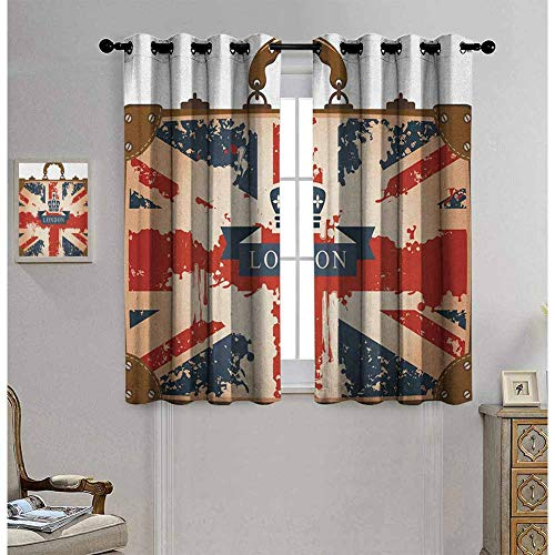 Union Jack Grommet Curtains 63 Inches Long Dark Blue Red Brown Window Curtains 63x63 Inch, Vintage Travel Suitcase with British Flag London Ribbon and Crown Image Black Out Window Curtain 2 Panel
