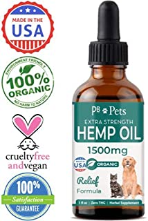 Hemp Oil for Dogs and Cats (1500mg) - Organically Grown & Made in USA - Pet Relief Formula Relieves Anxiety, Supports Hip & Joint Health, Naturally Relieves Pain, Herbal Supplement