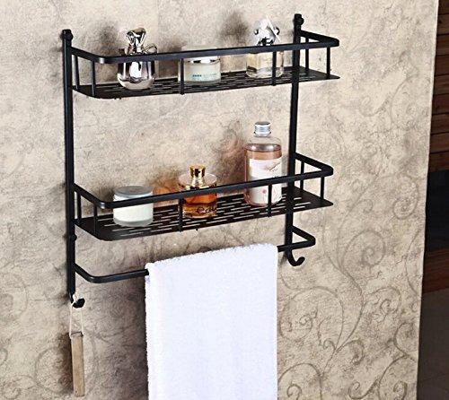 Rozin? Oil Rubbed Bronze Bathroom Storage Holder Dual Tier Cosmetic Shelf with Towel Bar by Rozin