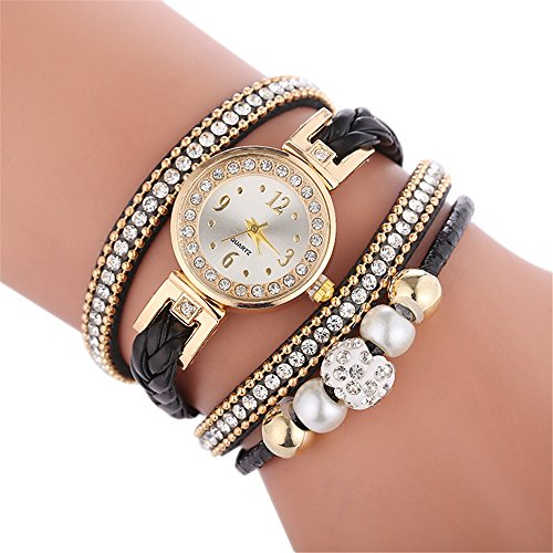 Lukame Damen Armbanduhr Retro Vintage Weave Runde Analog Quarz Uhr Beads Kugeln Strass Armkette Armband (B)
