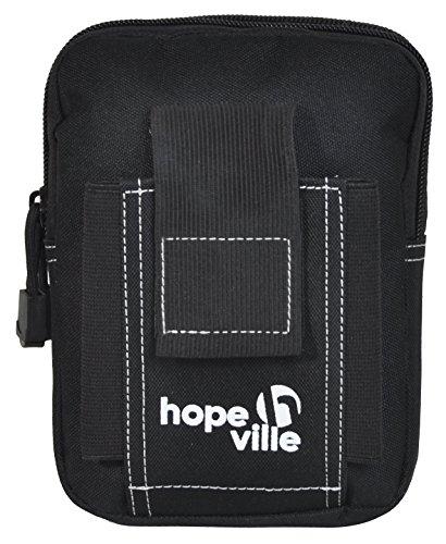 HOPEVILLE Hüfttasche mit Moole System, Robuste Bauchtasche für Damen und Herren, Premium Gürteltasche für alle Aktivitäten im Urlaub, Freizeit, Sport, Handwerk und Outdoor (Schwarz)