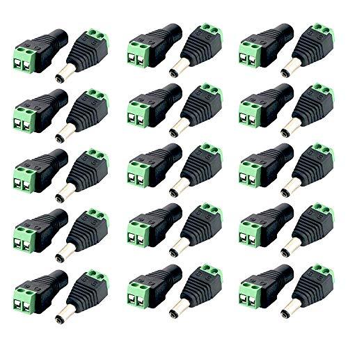 Anyasen Conector DC Conectores 15 Pares Macho y Hembra 12 V DC Power Plug Cable de alimentación Jack adaptadores Conectores Enchufe para Cables de energía cámara CCTV dirigido Tira Luces 2.1x5.5mm