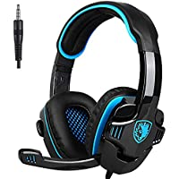 Sades SA708GT Gaming Noise Cancelling Over Ear Headphones for Xbox One, PS4, PC, Volume Controller, Bass Surround Soft Memory Earmuffs
