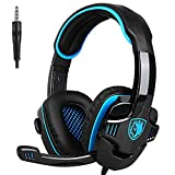 SADES SA708GT Gaming Headset for Xbox One, PS4, PC, Volume Controller, Noise Cancelling Over Ear Headphones Mic, Bass Surround Soft Memory Earmuffs for Computer Laptop Mac