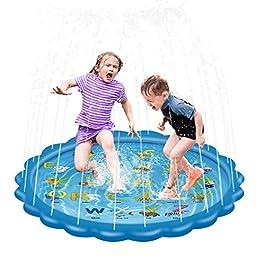 serene freestyle Splash Play Mat, Splash Play Mat,Outdoor Sprinkle and Splash Water Play Mat Party Sprikler Splash Pad 68″ Garden Water Toys Summer Spray Outdoor Toys Fun for Children Toddlers Kids