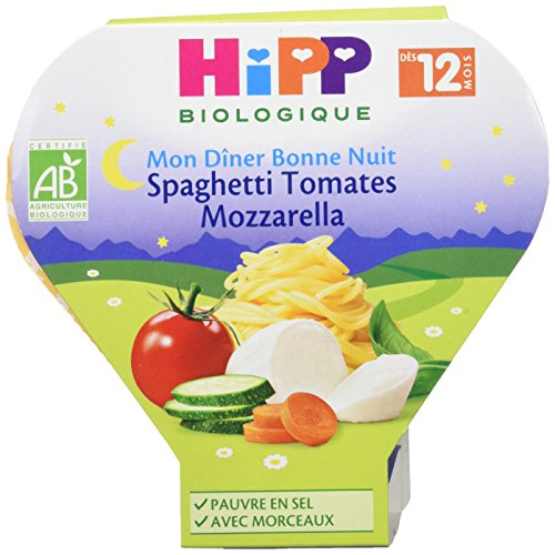 Hipp Biologique Mon Dîner Bonne Nuit Spaghetti Tomates Mozzarella dès 12 mois - 6 assiettes de 230 g