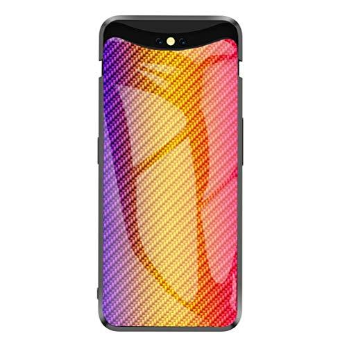 Capa Grandcase Oppo Find X, capa traseira de vidro temperado ultrafina com textura de fibra de carbono avançada resistente a arranhões para Oppo Find X 16,35 cm - ouro