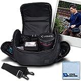 Medium Soft Padded Camera Equipment Bag/Case for Sony Alpha a5100, A200, A230, A35, A350, A37, A390, A58, A550, A65, A77, A700, A99 & More… + Microfiber Cloth