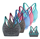 AKAMC Women's Removable Padded Sports Bras Medium Support Workout Yoga Bra 5 Pack,X-Large,Multi colored