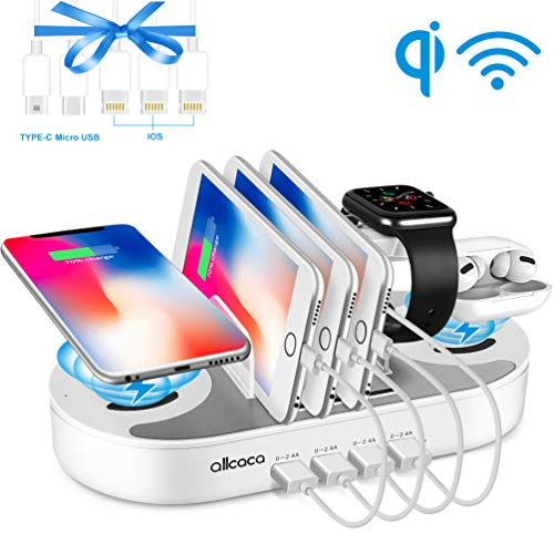 Fast Charging Station for Multiple Devices, 10W Fast Charging Station 2 Wireless Charging 4 USB Port Family Charge Docking&Organizer Compatible with iPhone/AirPods/iPad/iWatch/Android Phone/Tablet