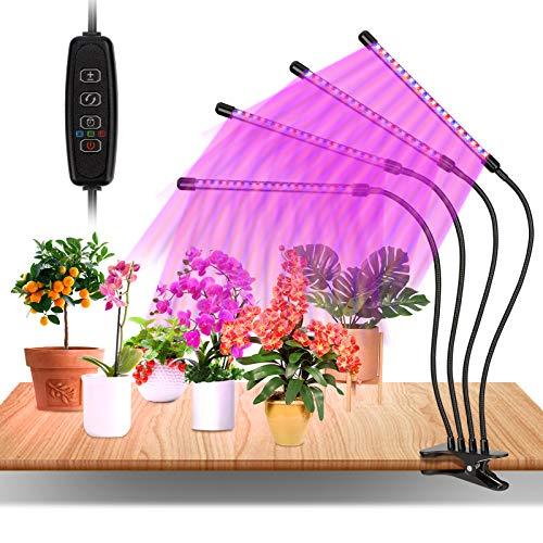 Pflanzenlampe LED, 4 Köpfe Pflanzenlicht Grow Lampe Pflanzenleuchte Rot&Blau Einstellbare Klemmleuchte mit Zeitschaltuhr für Zimmerpflanzen Gartenarbeit Bonsais
