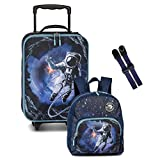 3 er Set Kinder - Trolley Rucksack Brustgurt GURTIES Dino Deer Astronaut Space (Blau)