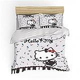 NICHIYOBI Hellokitty Juego de ropa de cama – Funda nórdica y funda de almohada, microfibra, impresión digital 3D de tres piezas (3,135 x 200 cm + 80 x 80 cm x 2)