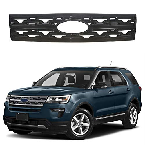 NINTE Grill Cover for 2018 2019 Ford Explorer - Painted Gloss Black Front Grille Covers