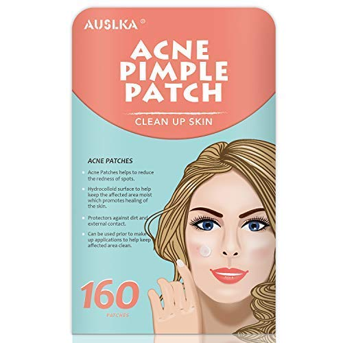 AUSLKA Acne Patches (160 Patches), Pimple Patch Stickers Hydrocolloid Acne Dots for Face, Tea Tree Oi